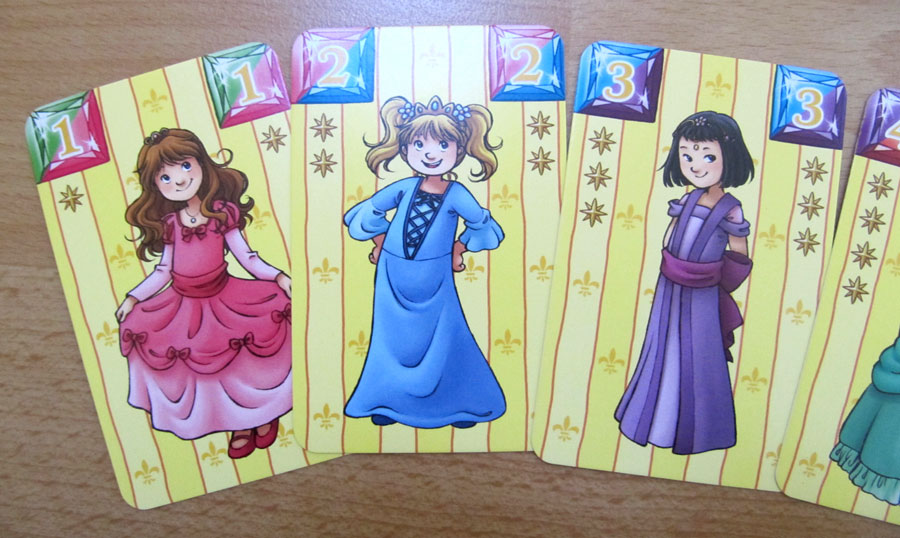 Closeup for the first 3 princess cards...