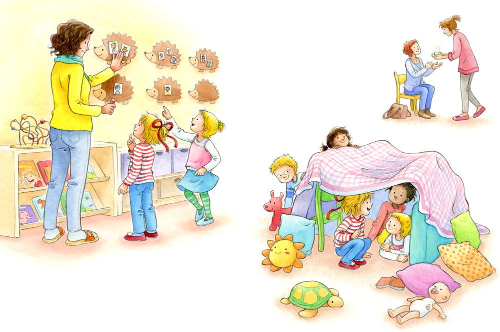 Beispielseiten aus 'Conni kommt in den Kindergarten'.