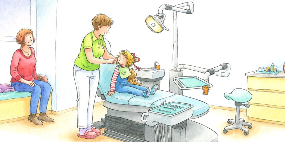 Beispielseiten aus 'Conni geht zur Zahnärztin'.