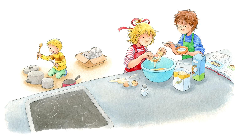 Beispielseite aus 'Conni backt Pfannkuchen'