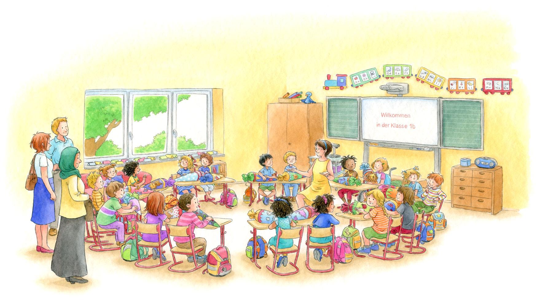 Beispielseite aus 'Conni kommt in die Schule''